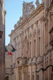 Aristocratic architecture of Malta`s early capital, Mdina. Squeezed along narrow, winding streets in Malta`s old, walled capital of Mdina in the centre of the Stock Photography