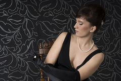 Aristocratic lady in a boudoir Royalty Free Stock Images