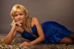 Free Aristocratic Lady In A Dark Blue Dress Stock Image - 16564061