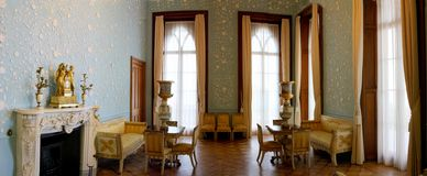 Aristocratic old interior of the ancient castle. Panorama aristocratic old interior of the ancient castle Stock Photos