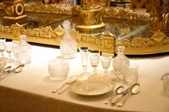 Aristocratic table set up stock photo