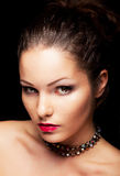 Aristocratic trendy woman looking. Beauty face Stock Image