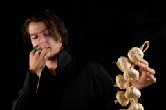 Aristocratic vampire doesn't like the garlic Stock Images
