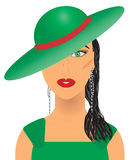 Aristocratic woman. In green hat and dress,  additional Stock Image