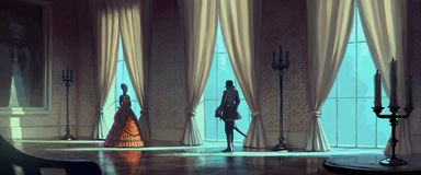 Aristocratic women and men. Meets in the palace's hall with a big windows Royalty Free Stock Images