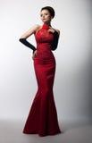 aristokratisk behagfull klänningmodekvinnlig Arkivfoto