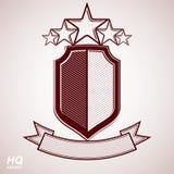 Aristokratiskt symbol för vektor eps8 Festlig grafisk sköld med fem stjärnor och det curvy bandet - dekorativ lyxig säkerhetsmall Arkivfoton