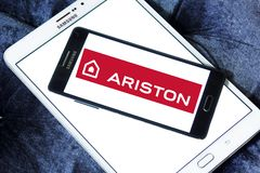 Ariston home appliances company logo. Logo of Ariston home appliances company on samsung mobile. Ariston is suppliers of electrical appliances Stock Photos