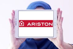 Ariston home appliances company logo. Logo of Ariston home appliances company on samsung tablet holded by arab muslim woman. Ariston is suppliers of electrical Royalty Free Stock Photography