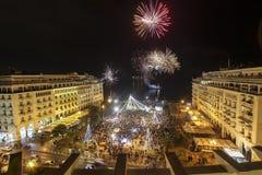 Aristoteles-` s Quadrat in Saloniki während der Feiern des neuen Jahres Stockfotografie