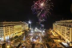 Aristoteles-` s Quadrat in Saloniki während der Feiern des neuen Jahres Stockbild