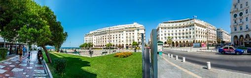 Aristotelous kwadrat w Saloniki panoramie zdjęcie royalty free