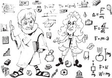 Aristotl and Newton. Black and white draw Royalty Free Stock Photo