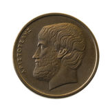 Aristotle, ancient Greek philosopher, portrait on. Aristotle, ancient Greek philosopher on a 5 drachmas coin (1990) isolated on white stock photo