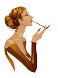 Aristrocratische vrouw in het voelen van genoegen Stock Fotografie