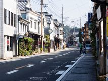 Traditional Japanese merchant houses in the town of Arita, birthplace of Japanese porcelain stock images