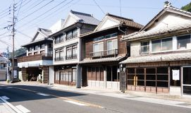 Traditional Japanese merchant houses in the town of Arita, birthplace of Japanese porcelain royalty free stock images