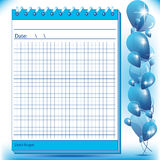 Arithmetic block notes in blue shades. With balloons Stock Photography