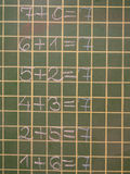 Arithmetic pattern. Math lesson on the school wood board Stock Photography