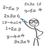 Arithmetic problem. Teacher tries to solve math problems. Math calculations on board Stock Photo