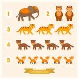 Arithmetische Illustrationen des Vektors für Kinder mit Tieren vektor abbildung