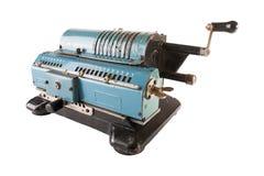 Arithmometer bleu d'isolement Photographie stock