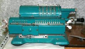 Arithmometer blue. Old vintage rare adding machine. stock image