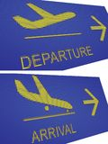 Arival and departure airport signs. Arrival and departure airport signs in pespective view, digital display screen, pixel effect navigational signboard with blue Royalty Free Stock Photos