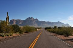arizona ökenhuvudväg Fotografering för Bildbyråer