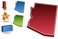 Arizona 3D. Set of 3D images of the State of Arizona with icons Royalty Free Stock Image