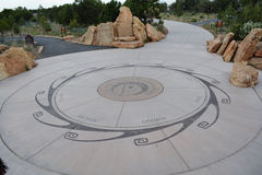 Arizona aboriginal design in park. Native tribes of Arizona marked in cement / stone in a national park Stock Photos