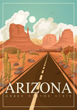 Arizona american travel banner. Poster with Arizona landscapes in vintage style. Arizona american travel banner. Vector USA banner. United States of America royalty free illustration