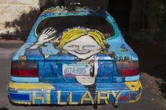 Arizona, Bisbee am 6. April 2015 Hillary Car, kundenspezifisches Auto, das Präsidentschaftswahl 2016 fördert Lizenzfreies Stockbild