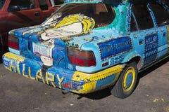 Arizona, Bisbee die, 6 April, 2015, Hillary Car, douaneauto de Presidentsverkiezing van 2016 bevorderen Stock Foto