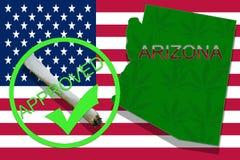 Arizona on cannabis background. Drug policy. Legalization of marijuana on USA flag, Royalty Free Stock Photo