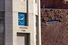 Arizona clock on intake tower on Hoover Dam Royalty Free Stock Photos