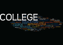 Arizona College Word Cloud Concept. Arizona College Text Background Word Cloud Concept royalty free illustration
