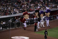 Arizona D-Backs mascots. After a race between innings stock photography