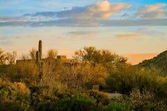 Arizona Desert Adobe style Living at sunset. Arizona life, blue skies desert colors and natural landscaping make for the good life Stock Image