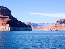 Arizona desert. Deep blue lake natural rock formations Stock Photography
