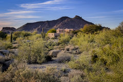 Arizona desert landscape adobe home. With morning sunrise Stock Photography