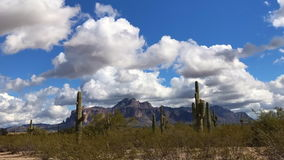 Arizona desert landscape with fluffy white clouds stock video