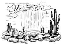 Arizona desert rain storm. Vector sketch. The long-awaited cloud rain in the hot desert. Cactus. Cacti in stones engraving illustration vector illustration