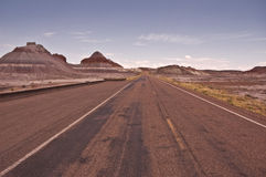 Arizona Desert Road. This is a road by the teepees through the Petrified Forest and Painted Desert National Park royalty free stock image