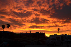 Arizona Desert Sunset. Spectacular Sunset at Tucson RV resort Stock Photos