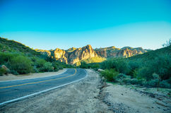 Arizona Desert. Superstition Mountains bathed in golden late afternoon light Stock Photos