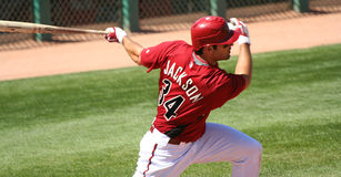 Arizona Diamondback Conor Jackson Batting. In a Spring Training Game on March 18, 2009, at Tucson Electric Park, Tucson, Arizona Royalty Free Stock Image