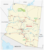 Arizona drogowa mapa Obrazy Royalty Free