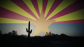 Arizona Flag Animation Spinning Sun Rays and Saguaro Cactus Time Lapse