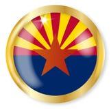 Arizona Flag Button. Arizona state flag button with a gold metal circular border over a white background Royalty Free Stock Photo
